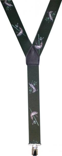 HT52 - Hosenträger - Y-Form - 3 Clips - Anglermotiv