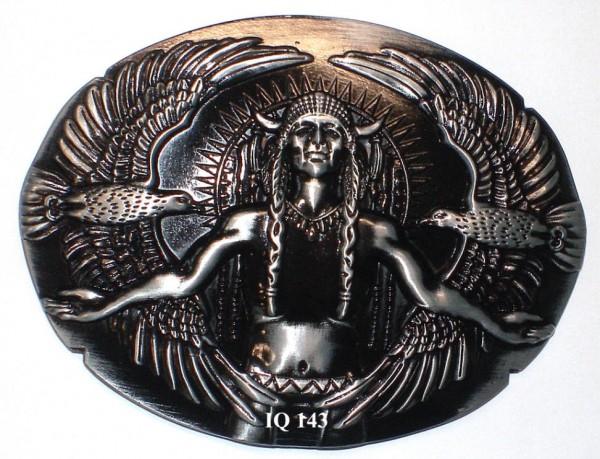 IQ 143 - Gürtelschnalle Indianer mit Adler