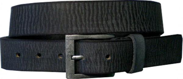ILC555 - Ledergürtel - 4 cm breit - schwarz mit silberner Antikschnalle