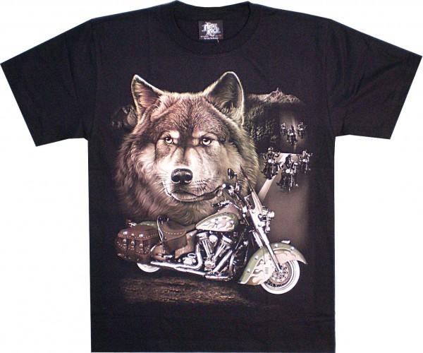 T-Shirt - Wolf + Harley - Glow in the dark mit Nieten