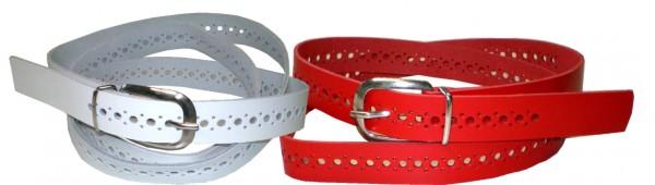 D-SPL01 - Damen-Gürtel / Ledergürtel mit Lochmuster in 4 Farben
