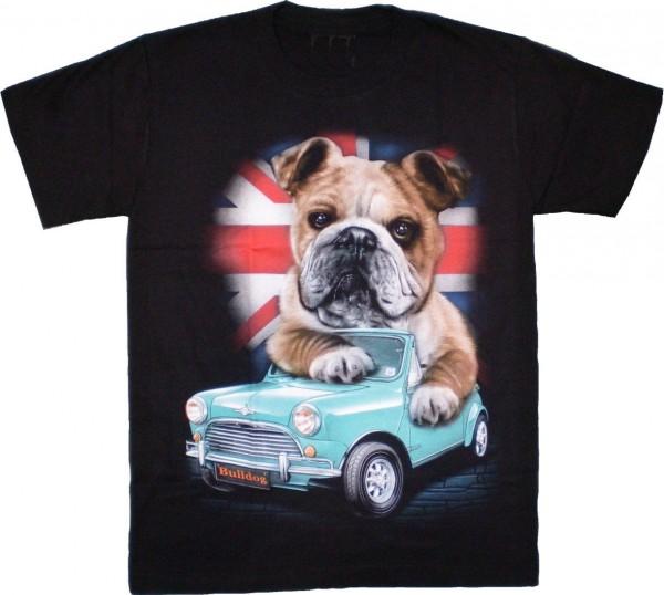 T-Shirt - Hund mit Auto -Boxer - beidseitig farbig bedruckt