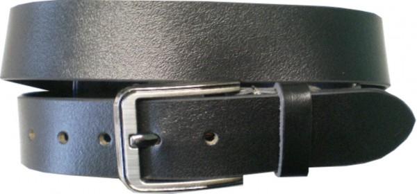 ILC742 - Ledergürtel - 4 cm breit - schwarz mit glänzender Schnalle