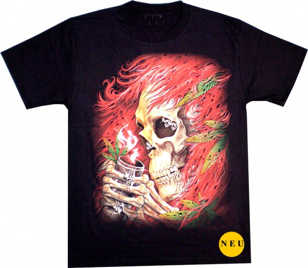 T-Shirt - Skull mit roten Haaren - Glow in the dark