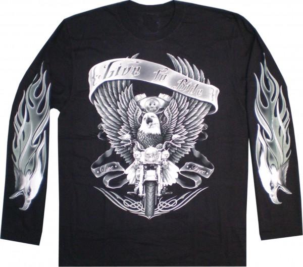 "T-Shirt Langarm mit Adler ""Live the Ride"" - beidseitig farbig bedruckt"
