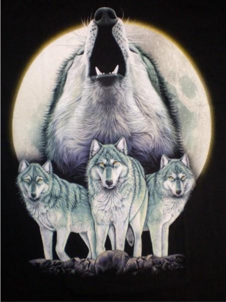 TS 168 - T-Shirt - heulender Wolf - Wölfe - beidseitig farbig bedruckt