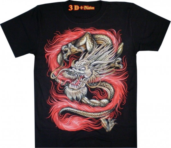 T-Shirt - Drache - in 3D mit Nasen-Piercing + Nieten - Glow in the dark