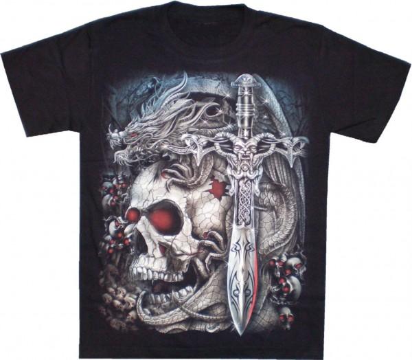GTS 126 - T-Shirt - Skull mit Schwert - Glow in the dark