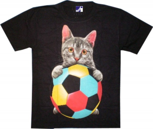 T-Shirt - Katze mit Ball - Glow in the dark