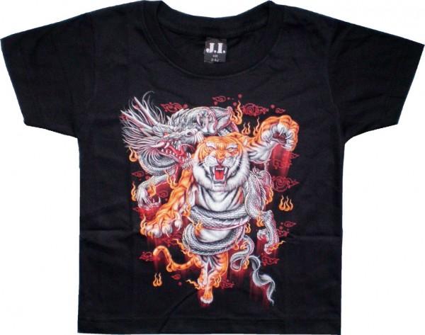 Kinder T-Shirt mit Tiger mit Drachen