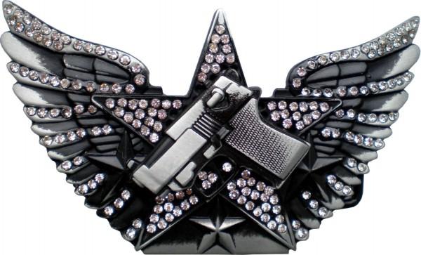 IQ 165 - Gürtelschnalle mit Strass - Pistole