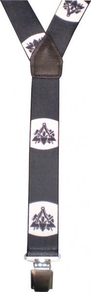 HT43 - Hosenträger - Y-Form - 3 Clips - Zunftemblem Maurer