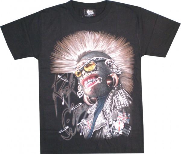 T-Shirt - Affe - Punk Monkey - Glow in the dark mit Nieten