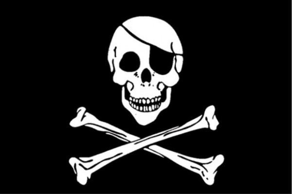 Stockfahne / Stockflagge Totenkopf / Skull and bones