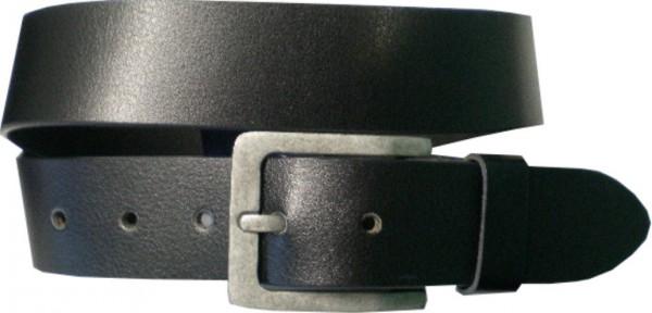 ILC553 - Ledergürtel - 4 cm breit - schwarz mit silberner Antikschnalle-Copy