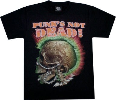 T-Shirt - Skull - Totenkopf - Punk´s not dead - Glow in the dark mit Nieten