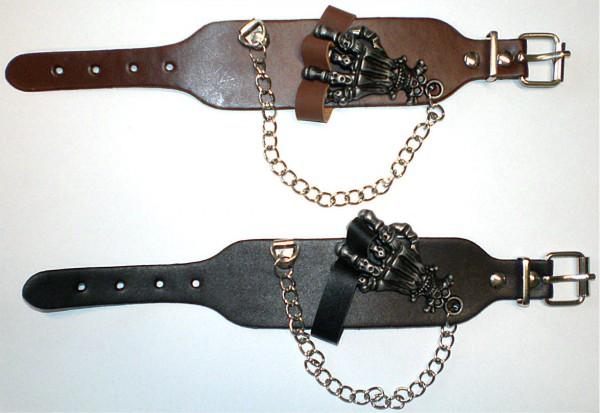 NAB 1824 - Nieten-Armband - Punk - Gothic - mit Hand + Kette
