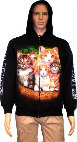 SJ061 - Jacke Sweatshirtjacke Hoody Biker Gothic - beidseitig farbig bedruckt - Katzen