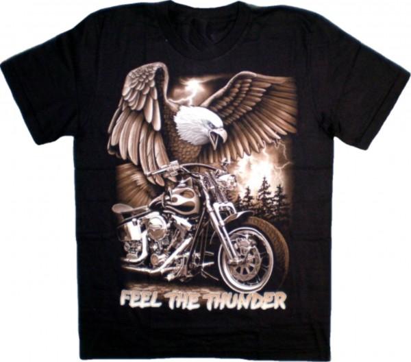 """ETS 15 - T-Shirt mit Adler+Bike """"Feel the thunder"""" - beidseitig farbig bedruckt"""