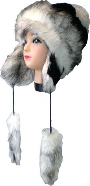 Mütze, Wintermütze, Strickmütze mit Kunstfell, mit Fleece gefüttert