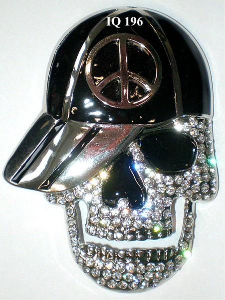 IQ 196 - Gürtelschnalle mit Strass - Totenkopf/Skull mit Cap