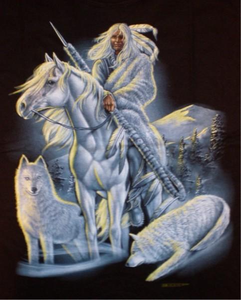 T-Shirt Indianer mit Pferd