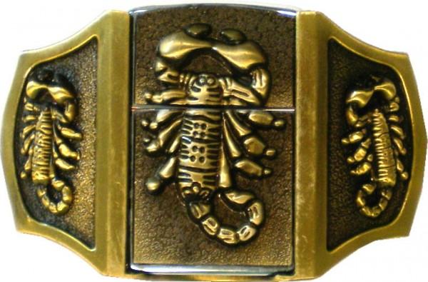 IQ 1086 - Gürtelschnalle Buckle mit Feuerzeug Skorpion