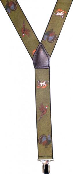 HT64 - Hosenträger - Y-Form - 3 Clips - Jagdmotiv