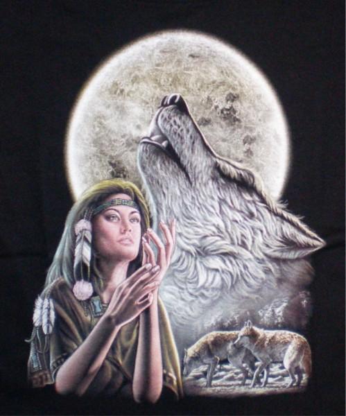Kinder T-Shirt mit Indianerin und Wolf