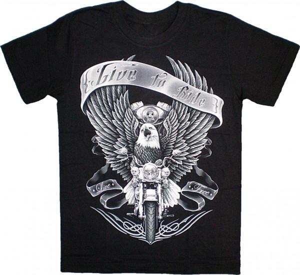 """ETS 11 - T-Shirt mit Adler """"Live to ride"""" - beidseitig farbig unterschiedlich bedruckt"""