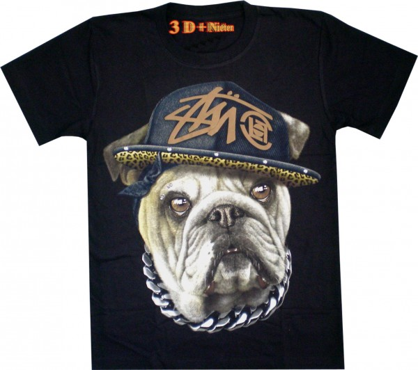 T-Shirt - Hund - Bulldog - 3D mit Nieten + Piercing - Glow in the dark