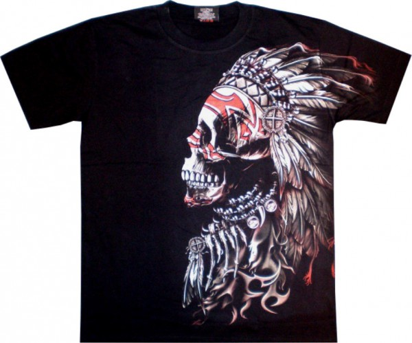 T-Shirt - Indianer - Glow in the dark mit Nieten