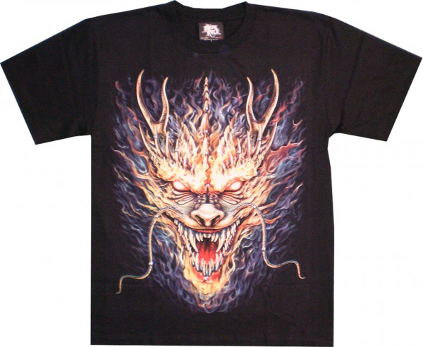 T-Shirt - Drache in Flammen - Glow in the dark mit Nieten