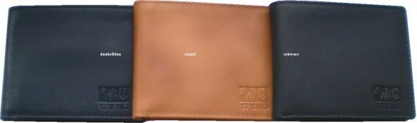 IQ075 - Geldbörse, Lederbörse, Portemonnaie echt Leder - Querformat - 3 Farben