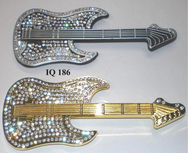 IQ 186 - Gürtelschnalle mit Strass - Gitarre