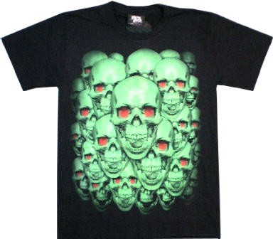 T-Shirt - grüne Totenköpfe - Glow in the dark