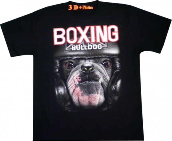 T-Shirt - Bulldog - 3D mit Naen-Piercing - Glow in the dark
