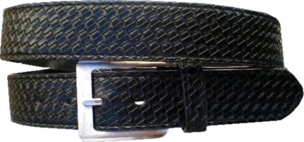 KGL 2116 - Gürtel / Kunstledergürtel / PU-Gürtel gemustert in 3,8 cm, schwarz
