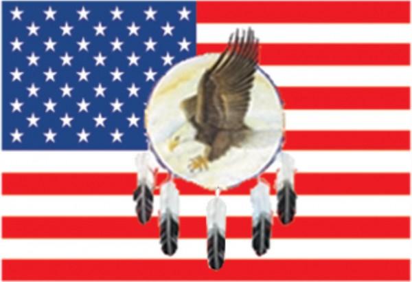 Länderfahne USA mit Adler im Federkranz