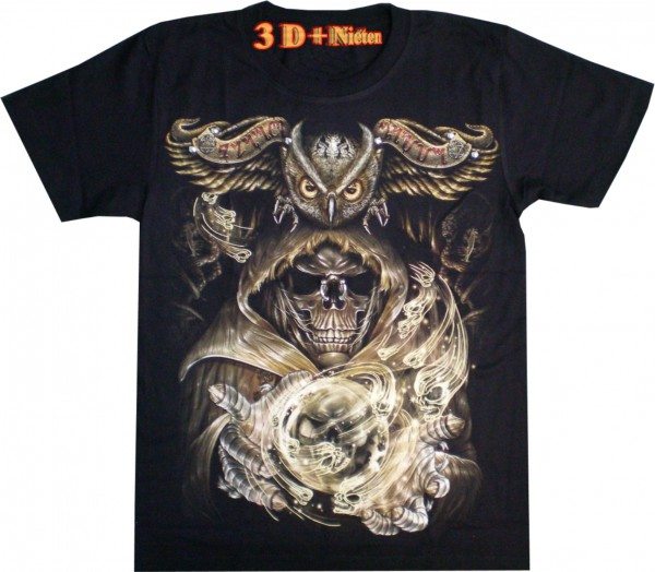 T-Shirt - Eule + Skull - 3D mit Nieten + Piercing - Glow in the dark