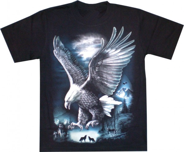 GTS147 - T-Shirt - fliegender Adler- Glow in the dark