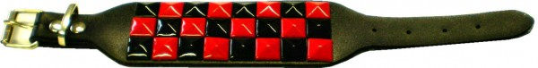 NAB 1764 - Nietenarmband -farbige Pyramidennieten - 3 reihig