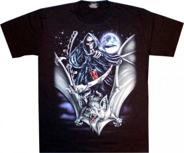 T-Shirt - Skull auf Fledermaus - Glow in the dark mit Nieten