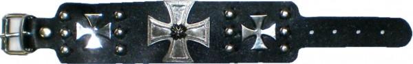 NAB 1813 - Nieten-Armband - Punk - Gothic - mit 3 Kreuzen + Nieten