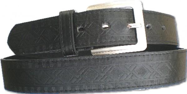 KGL 2117 - Gürtel / Kunstledergürtel / PU-Gürtel gemustert in 3,8 cm, schwarz