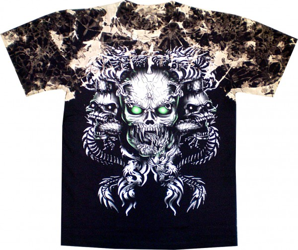 T-Shirt - Batik-Shirt - Totenkopf - Skull - mit Nieten