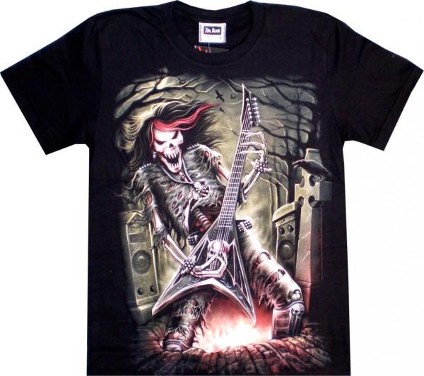 ETS 08 - T-Shirt mit Rock Skull- beidseitig farbig unterschiedlich bedruckt