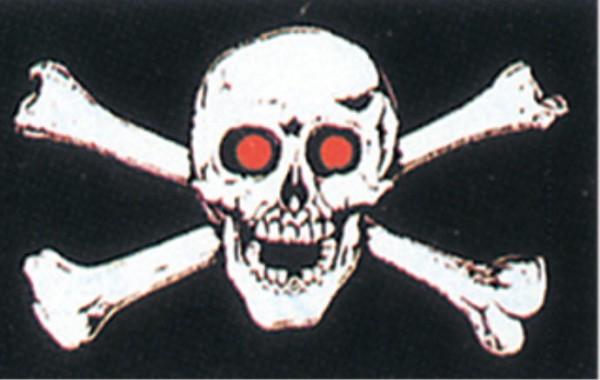 Stockfahne / Stockflagge Totenkopf / Pirat mit roten Augen