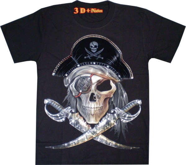 T-Shirt - Pirat - in 3D mit Nasen-Piercing + Nieten - Glow in the dark