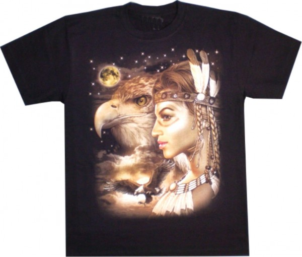 T-Shirt - Indianerin und Adler- Glow in the dark